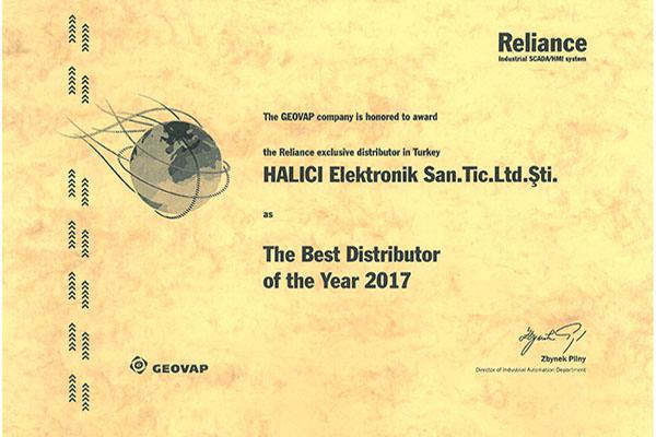HALICI certificate The Best Distributor 2017